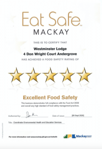 Eat Safe Certificate - Very Good Food Safety - 3 May 2019